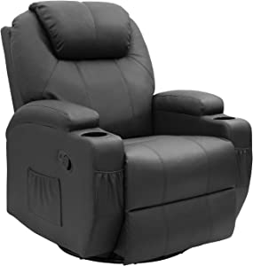 JUMMICO Recliner Chair Massage and Heating Living Room Chair, Rocking and 360° Swivel Home Leather Sofa with 2 Cup Holders and Side Pockets (Black)