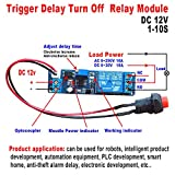 Qianson DC 5V 12V Timing Timer Delay Turn OFF Switch Time Relay Module 1~10s Adjustable (DC 12V)