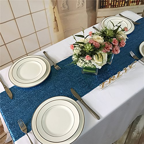 Koyal Wholesale Sequin Table Runner, 13 by 108-Inch, Turquoise (Beach Wedding Candy)