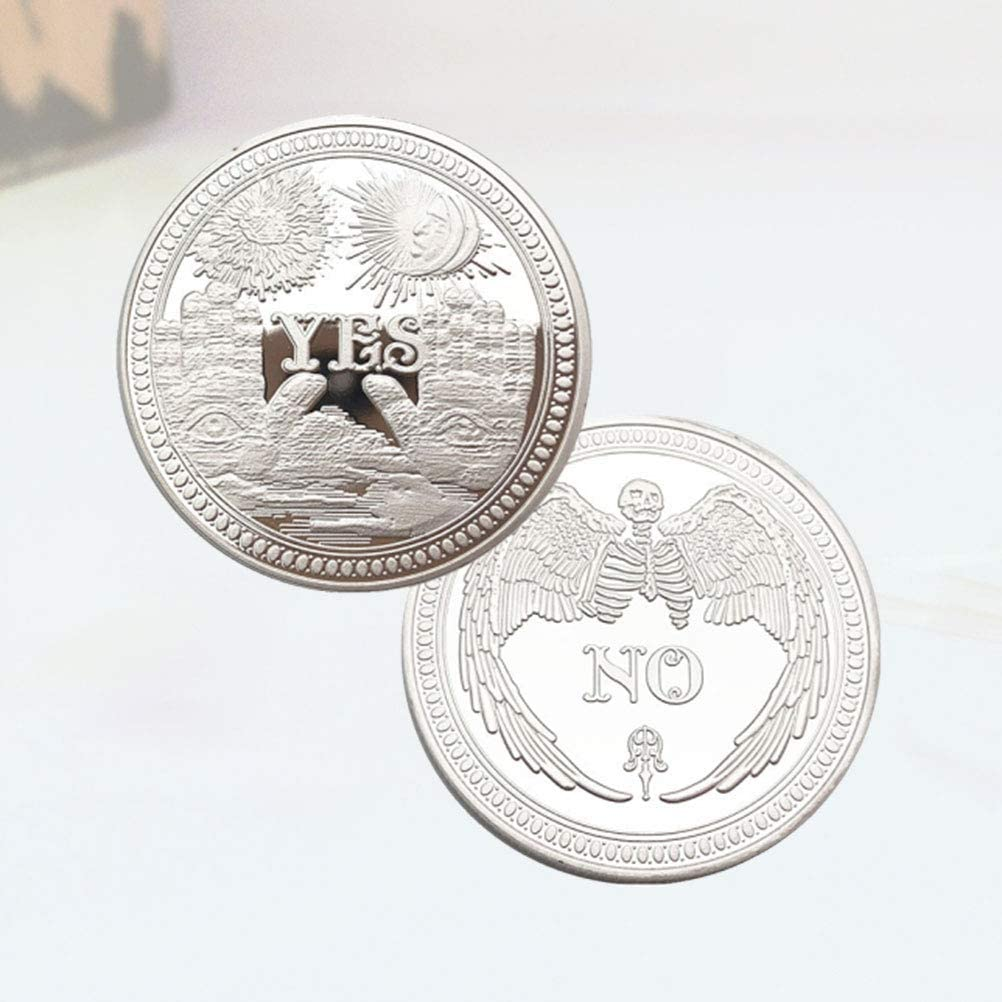 Silver BESTOYARD Yes No Challenge Coin Souvenir Flipping Challenge Coin Commemorative Coins Collection 2pcs