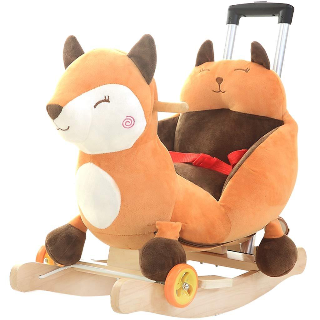 Schaukelspielzeug Kinder Schaukelpferd Babyspielzeug Baby Schaukel Massivholz Mit Musik Geschenk Mit Universalrad Mit Schubstange