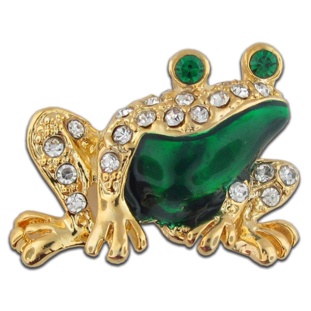 PinMart's Gold and Green Enamel Rhinestone Frog Brooch Pin 7/8''
