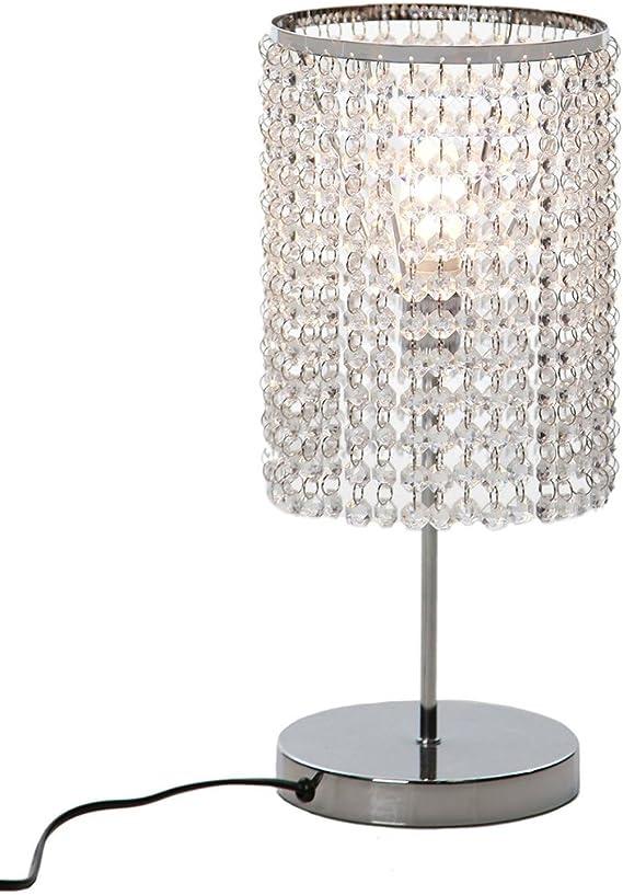 Dellemade Lampada Da Tavolo Decorativa In Cristallo Colore Argento Amazon It Illuminazione