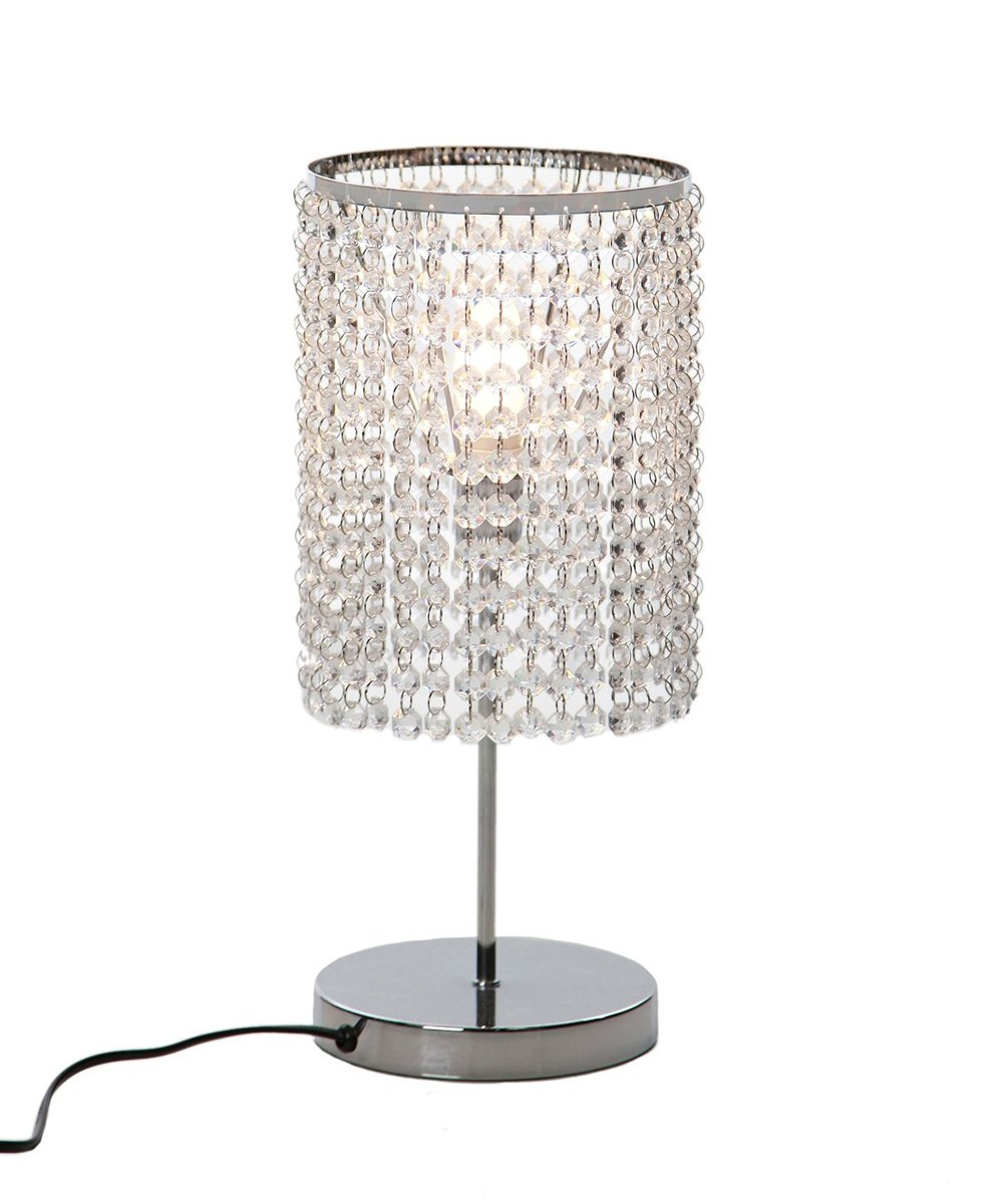 Surpars House Elegant Crystal Silver Table Lamp - Faux Crystal,simple but elegant design Chrome finish table lamp body On/off switch in the middle of the cord, standard American plug - lamps, bedroom-decor, bedroom - 612lo1vP0CL -
