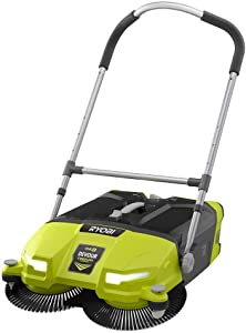 "Ryobi ONE+ DEVOUR 18-Volt Cordless Debris Sweeper, Transparent 4.5 Gal Tub Capacity with LED Headlights, Rear Wheel Height Adjustment, 21"" Wide Cleaning Swath (TOOL ONLY)"