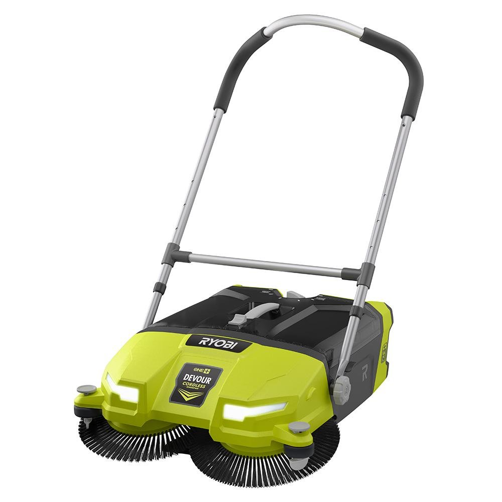Ryobi ONE+ DEVOUR 18-Volt Cordless Debris Sweeper, Transparent 4.5 Gal Tub Capacity with LED Headlights, Rear Wheel Height Adjustment, 21'' Wide Cleaning Swath (TOOL ONLY) by