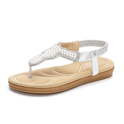 6ca624a4dfa41 Meeshine Women Bohemia Flat Sandals Summer Beach Glitter Beads Elastic  T-Strap Flip-Flop Thong Shoes
