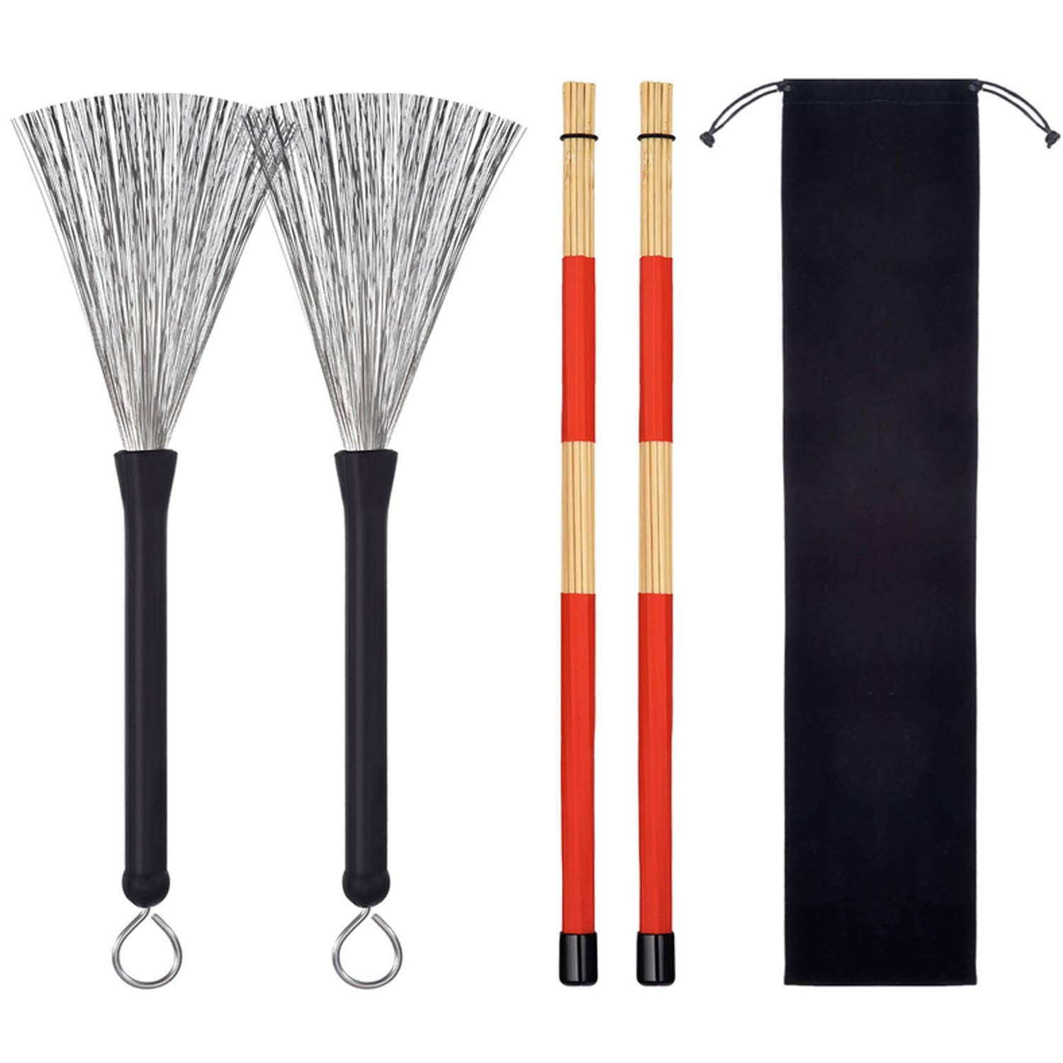 1 Pair Drum Wire Brushes + 1 Pair Rods Drum Brushes + 1pcs Storage Bag for Jazz Acoustic Music Lover Gifts Migavan M433250029