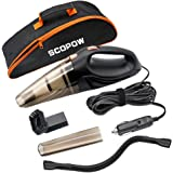 Car Vacuum Cleaner, SCOPOW Black 12V 106W 4 in 1 Multifunctional Cyclonic Wet / Dry Auto Vacuum Cleaner Handheld Vacuum Cleaner Dust Buster Hand Vacuum with 14.7 Ft Power Cord and Carrying Bag