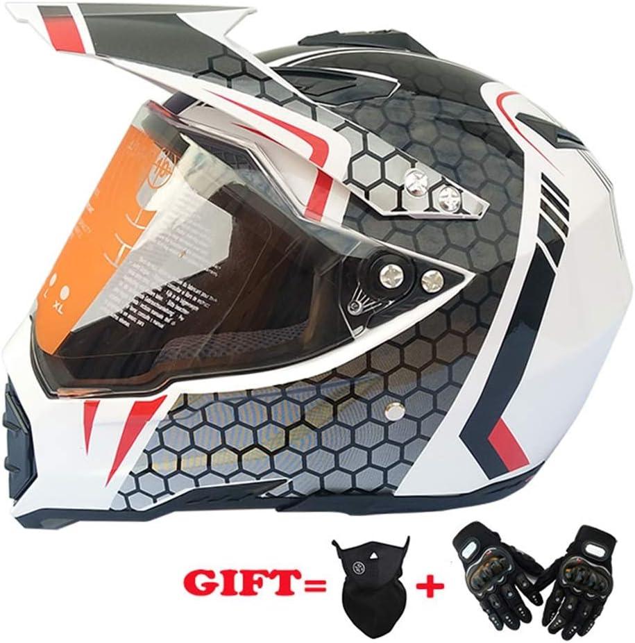 MRDEER® Casco de Motocross Adultos Profesional Casco Motocicleta Set Casco Unisex Integral con Visera Flip, Guantes, Mascarilla