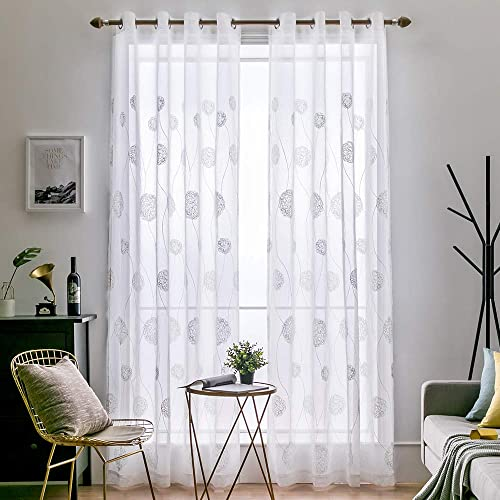 MIULEE 2 Panels Embroidered Sheer Window Flora Design Grommet Curtains Window Voile Panels Drape Treatment for Bedroom Living Room 54X96 Inch White