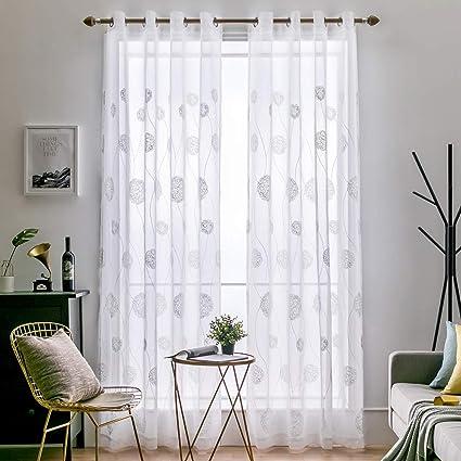 Yisily Blumenschmetterlings-Fenster Gardinen Gardine Voile Tulle-Fenster-Vorhang f/ür Wohnzimmer 100x200cm