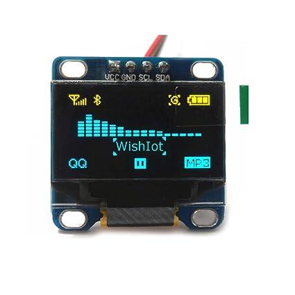 "0,96 ""pulgadas I2C IIC Serial Oled, pantalla LCD amarilla y azul"