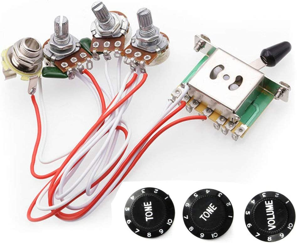RUNCCI-YUN Kits de arnés de cableado de la guitarra eléctrica, 2T1V perillas de control 5-Way Switch 500K macetas con Jack para el reemplazo de guitarra de estilo Strat, w/Control de Volumen del Tono