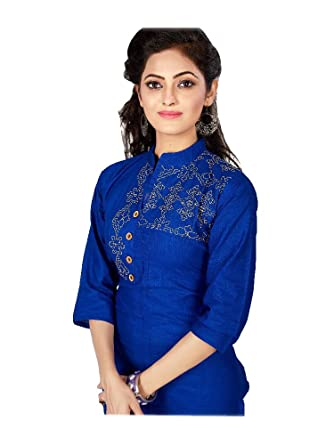 Jayayamala Frauen Attraktive Blaue Baumwolle Kragen Hals Stickerei Arbeit  Tunika/Front Button Tunika/Party