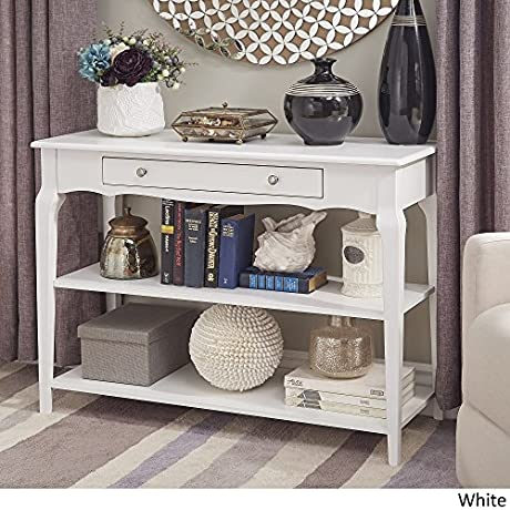 INSPIRE Q Modern Daniella Console Sofa Table TV Stand Bold With Two 2 Fixed Shelves And One 1 Drawer White