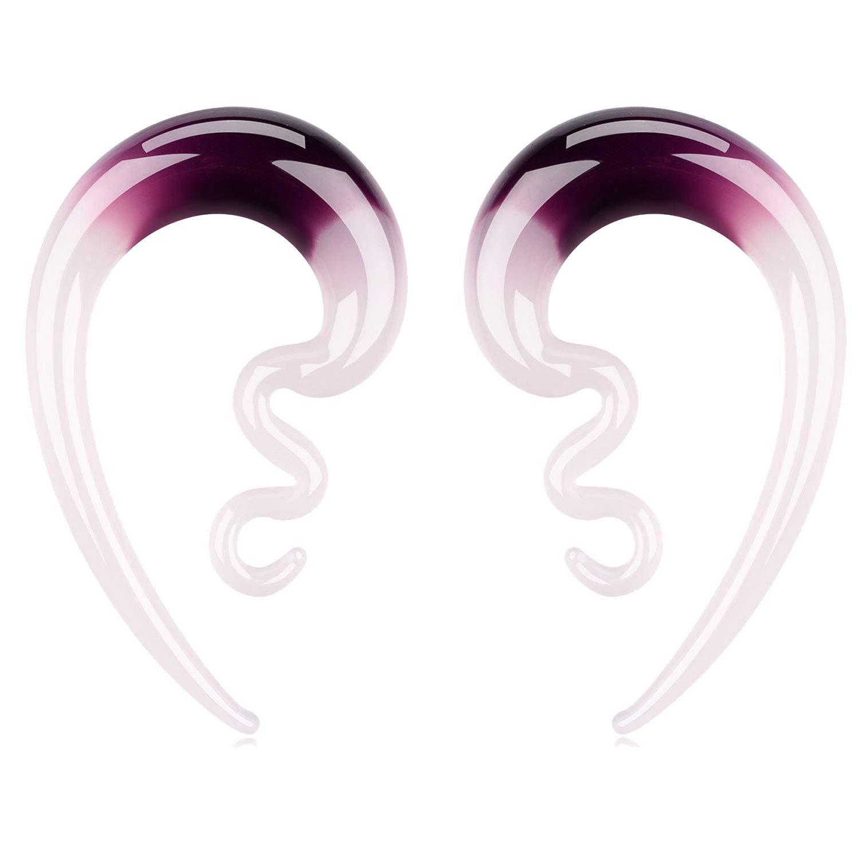 BodyJ4You 2PC Glass Ear Tapers Plugs 0G Purple White Handmade Hanger Piercing Jewelry Set by BodyJ4You