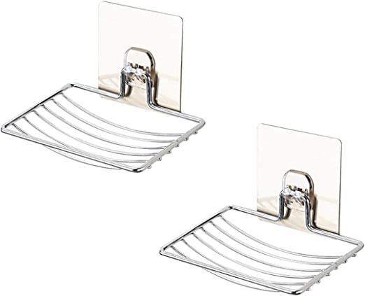 2 Pack Soap Holder Soap Dish Holder Wall Mount Self Adhesive Bathroom Kitchen