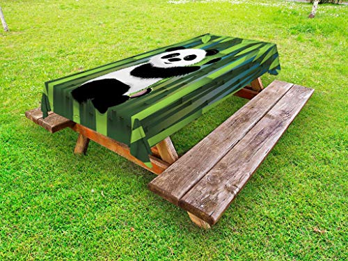 Lunarable Cartoon Outdoor Tablecloth, Curious Baby Panda on Stem of The Bamboo Bear Jungle Wood Illustration, Decorative Washable Picnic Table Cloth, 58
