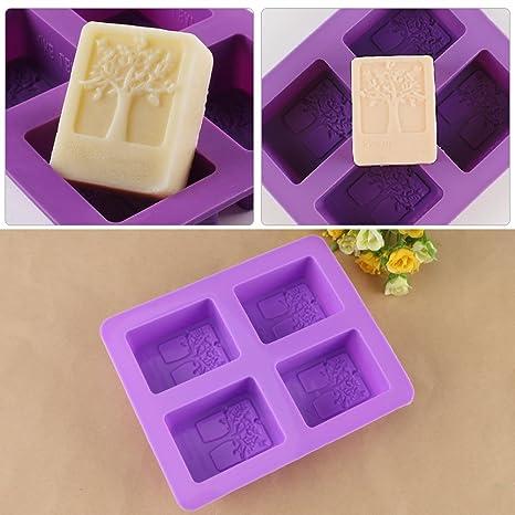 4 – Grid morado árbol de silicona molde para agujeros rectangular de silicona para tartas,