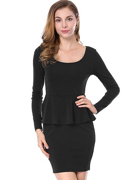c8f5d99ace8 Allegra K Women's U Neck Long Sleeves Pencil Party Frill Peplum Dress