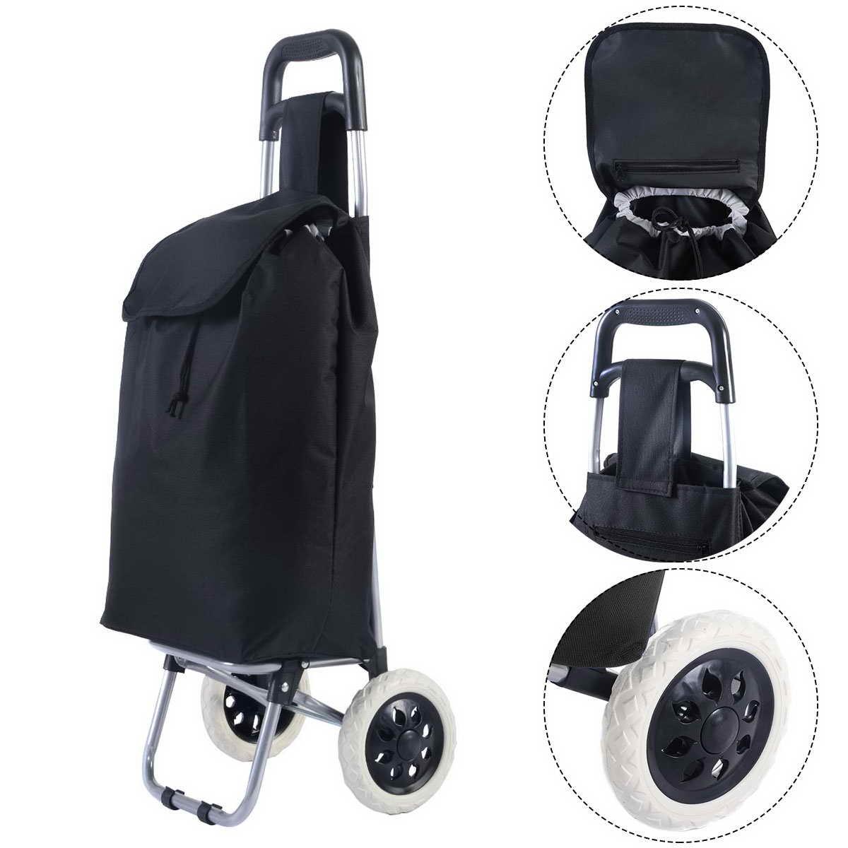 Einkaufstrolley Einkaufsroller Einkaufstasche Handwagen Einkaufswagen klappbar mit Rollen Schwarz Blitzzauber24