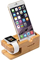Apple Watch 2-in-1 Charging Stand - Fosmon [Charging Dock] Wood Station Desktop Charger Stand for Apple Watch (38mm - 42mm), Apple iPhone & Android Smartphones - Bamboo