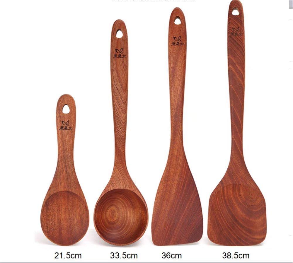 Jhion Premium Organic Kitchen Cooking Utensils Wooden Spoon Spatula Bamboo Kitchen Tools Set of 4