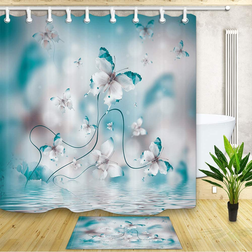 Amazon Com Jawo Spring Flower Shower Curtain And Mat Butterfly
