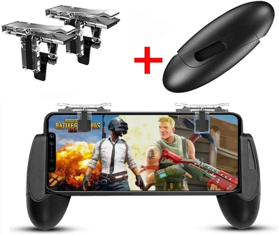 Mobile Game Controller, Game Pad Sensitive Shoot and Aim Keys Joysticks Game Controller for PUBG/Fortnite/Knives Out/Rules of Survival Gaming Triggers for iOS and Android (Black)