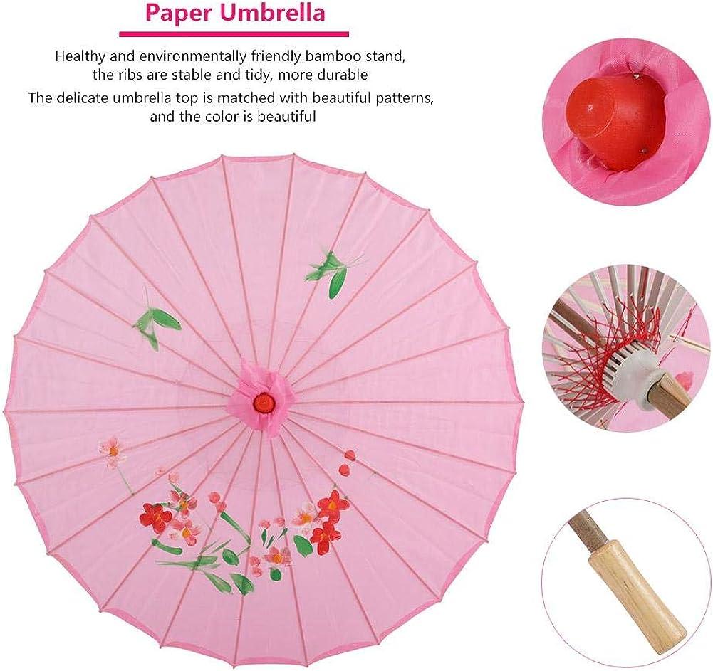 Femme Huile Papier Parapluie Chinoise Fait /à La Main Oriental Classique Ombrelle avec Manche en Bambou pour Accessoires de Photo//Cos-Play//Th/é/âtre//D/écorations de Mariage. Hakeeta Parapluies