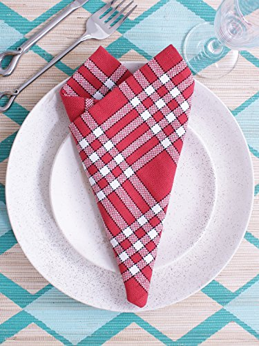 Napkins, Set of 6, 100% Cotton, Normand Check Design, Essential for all tables, Red Color, Size 16''x16''. by Villa Tranquil (Image #4)