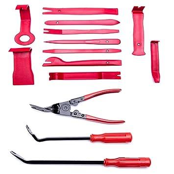 HYB Auto Trim eliminación Tool Kit alicates de clip y cierre para puerta ventana del Panel moldura tapicería 14 pcs rojo: Amazon.es: Coche y moto