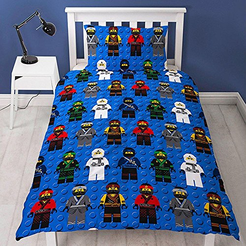 "-[ LEGO NINJAGO MOVIE Repeat Print Design ""Ninja"" Duvet Set, Multi-Colour, Single  ]-"