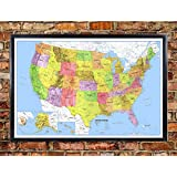 24x36 United States, USA, US Classic Premier Push Pin Travel Wall Map Foam Board Mounted or Framed (Framed Black)