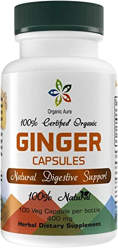 Organic Aura Ginger Capsules. Powerful Anti-Oxidant for Boosting Digestion, Immunity and Optimum Health. 100 All Natural, Raw and Original. No GMO and Gluten Free.
