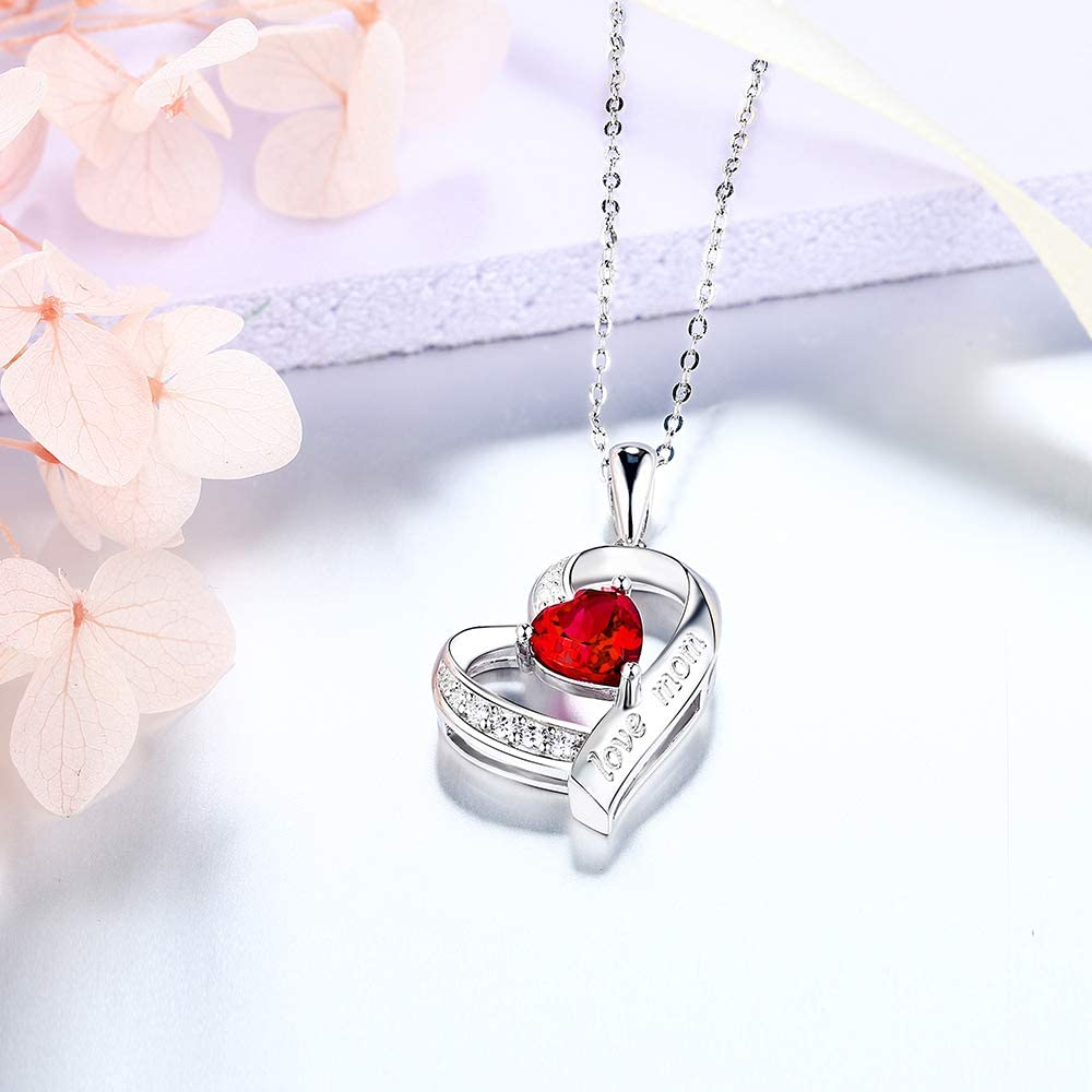 Sterling Silver Love Mom Heart Created Red Ruby Pendant Necklace for Mothers Day Birthday Gifts