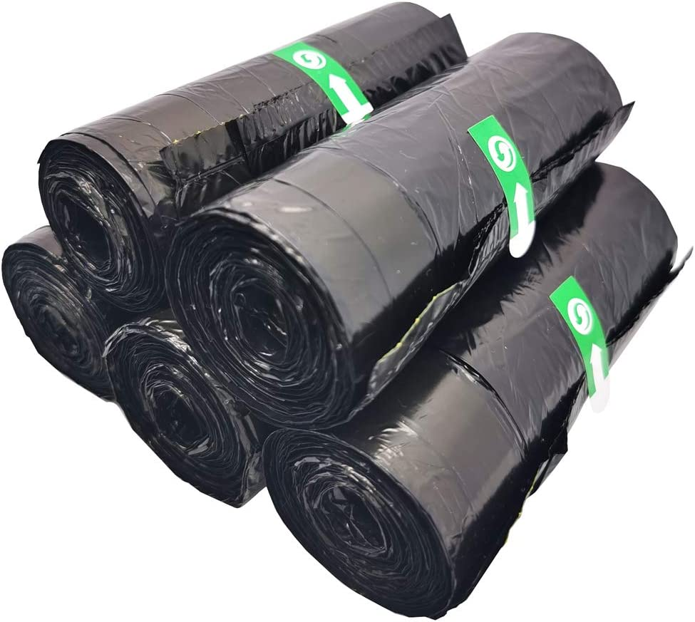 Small Drawstring Trash Bin Bags,Black Trash Can Liners for Bedroom Office 7 Gallon (75 Count)