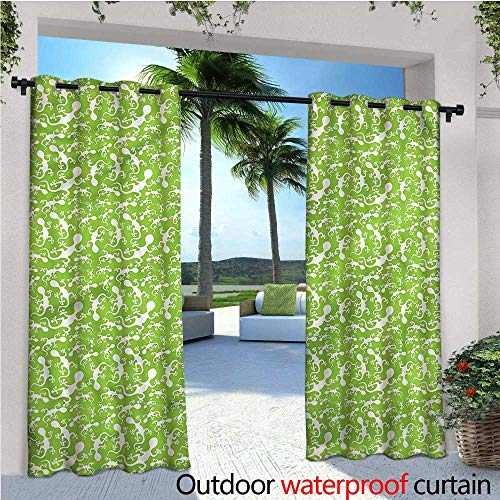 - warmfamily Reptile Exterior/Outside Curtains Gecko Silhouettes Crawling for Patio Light Block Heat Out Water Proof Drape W108 x L96