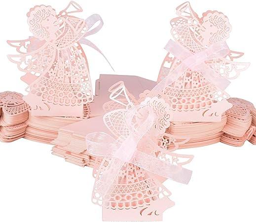 100pcs Cajas de Caramelos Boda Bautizo Bombones Galletas Chuches Peladillas Regalo Recuerdo Cumpleaños en patrón de ángel con Cinta (Rosa): Amazon.es: Hogar