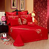 DHWM-Wedding embroidery 4 piece set, bedding red cotton 4 piece set, marriage is set multi piece ,2.0m