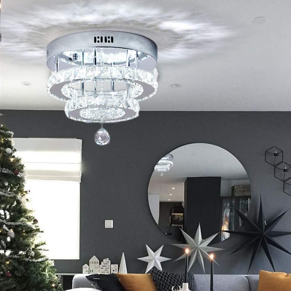 Contemporary Stainless Steel Cool White Led Ring Flush Mount Lighting Ceiling Lights Fixtures for Living Room Bedroom Restaurant Porch Dining Room Hallway SEVETILKA Modern Crystal Chandelier