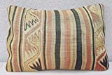 14'' X 20'' Muted Color Wool Kilim Lumbar Pillow Cover, Area Rug Body Cushion