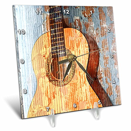 Cheap 3dRose dc_29238_1 Vintage Guitar Music Instruments Desk Clock, 6 by 6-Inch