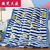 Double thick Soft fleece blanket blanket encryption is not hair does not play ball blanket thick autumn and winter double bunk ,200x230cm (7 pounds), double-layer thick, Smiling Angel