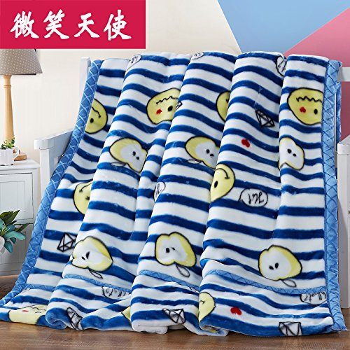 Double thick Soft fleece blanket blanket encryption is not hair does not play ball blanket thick autumn and winter double bunk ,180x220cm (6 pounds), double-layer thick, Smiling Angel by Znzbzt