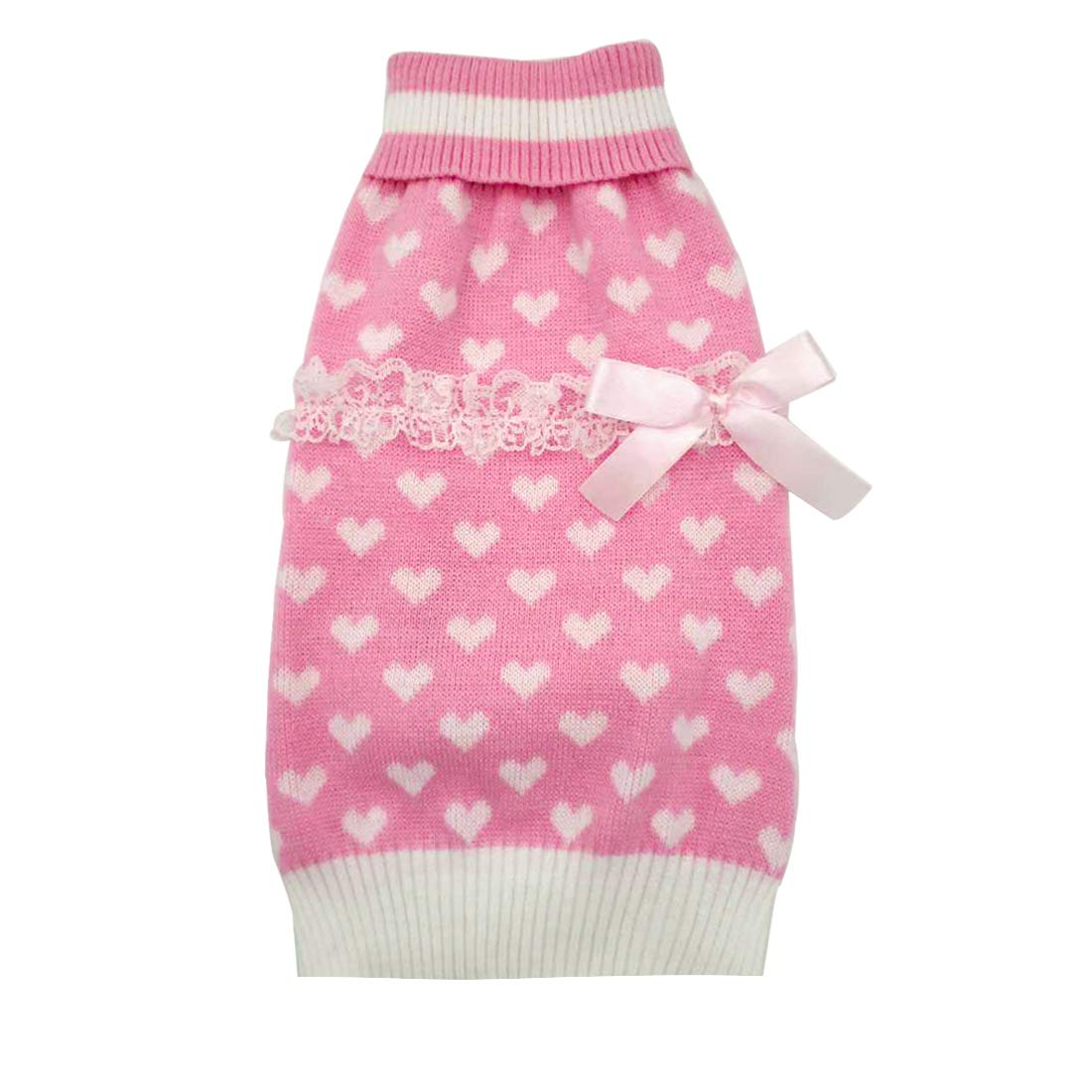 azuza Fashion Dog Sweater Pink Turtleneck Dogs Pullover Knitwear Back Length 14'' Fall Winter Warm with Lace Bowtie