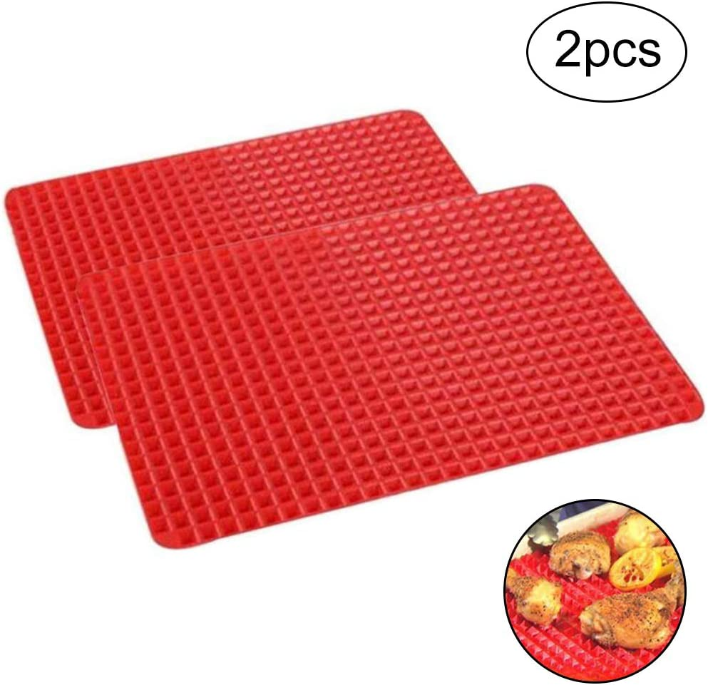Baking Mats - WENTS Non-Stick Heat Resistant Reusable & Easy to Clean Pyramid Shaped Silicone Barbecue Baking Mats for Baking, Charcoal, Oven and Electric Grills Red (2pcs)