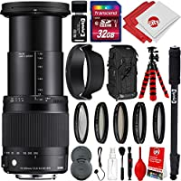 Sigma 18-300mm F3.5-6.3 Contemporary DC MACRO HSM Lens for Sony A-Mount DSLR Cameras w/ 32gb Pro Photo and Travel Bundle