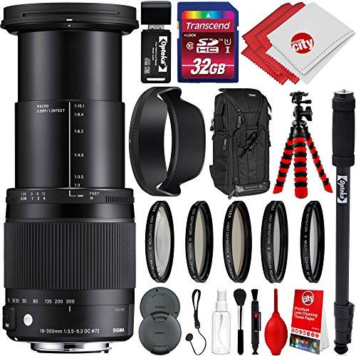 Sigma 18-300mm F3.5-6.3 Contemporary DC MACRO OS HSM Lens for Nikon DSLR Cameras w/ 32gb Pro Photo and Travel Bundle